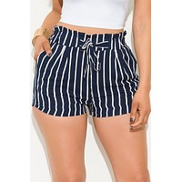 Stay Or Leave Striped Shorts Navy White