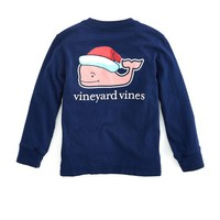 Boys Long-Sleeve Santa Hat Whale Pocket T-Shirt