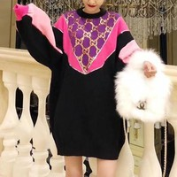 """Gucci"" Fashion Retro Sequin Stitching Multicolor Long Sleeve Dress"