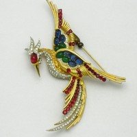 BOUCHER Phoenix Bird Emerald, Sapphire, Ruby Red & Diamante Pin Brooch