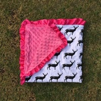 Preorder -pink and black deer design Minky blanket includes monogram or name