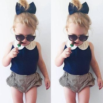 Toddler Kids Baby Girls Clothes Sets 2pcs Summer Beach Outfits Clothes T-shirt Tops + Shorts Striped 2PCS Set Girl Clothing