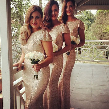 Charming Gold Long Bridesmaid Dresses Sequined  Floor Length Bridesmaid Dress 2015 Prom Dress Wedding Party Dress