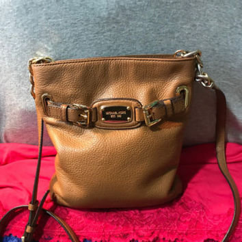 Michael Kors Saddle Pebble Grain Leather Chain Snap Shoulder Bag Crossbody