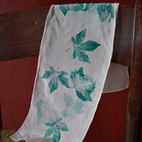 Peach Silk Scarf with Green Leaves