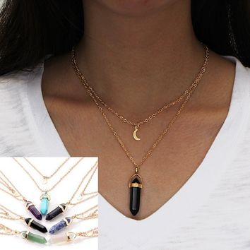 Fashion Jewelry, natural stone glass hexagon pillar neck chain, double moon crescent bullet necklace