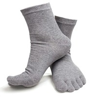 Men Cotton Breathable Five Finger Toe Socks Casual Soft Socks