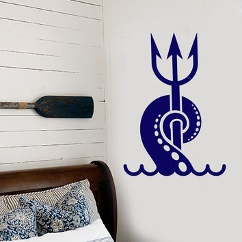 Vinyl Wall Decal Tentacles Octopus Sea Animal Nautical Trident Stickers (2501ig)