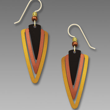 Adajio Earrings - Three-part Triangles in Shades of Brown