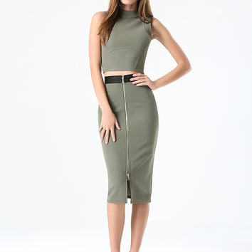 bebe Womens Ottoman Zip Midi Skirt Dusty Olive