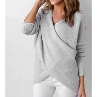 Women Solid Color Irregular Crisscross V-Neck Long Sleeve Knitwear Sweater Tops