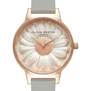 Olivia Burton 'Flower Show' Leather Strap Watch, 30mm | Nordstrom