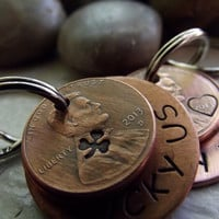 Couple set of Lucky Us Keychains,  2 Lucky Us Copper Keychains 3  lucky pennies each, Anniversary gift, Wedding Gift, Lucky Penny Keychains
