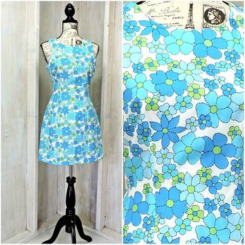Womens summer dress / 80s bright floral dress / mod / retro /  size 8 / 9 / Byer Too California