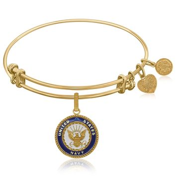 Expandable Bangle in Yellow Tone Brass with Enamel U.S. Navy Symbol