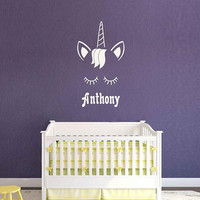 Unicorn wall decal boys name personalized unicorn wall decal unicorn monogram wall decal ik3472