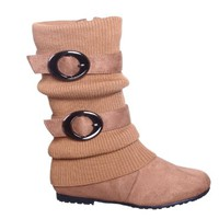 Slouchy Sweater Buckle Mid Calf Boot