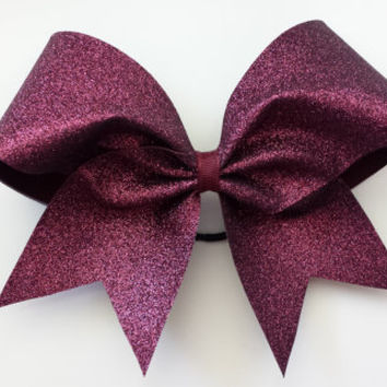 Maroon glitter cheer bow