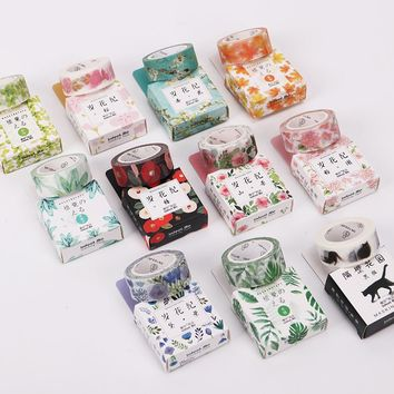 2 PCS 11 Styles 15mmx7m Seasons Color Flower Plants Washi Tape Adhesive Tape DIY Planner Scrapbooking Masking Tape