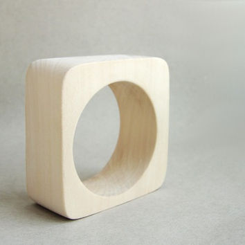 35 mm Wooden bangle unfinished square - natural eco friendly te35o