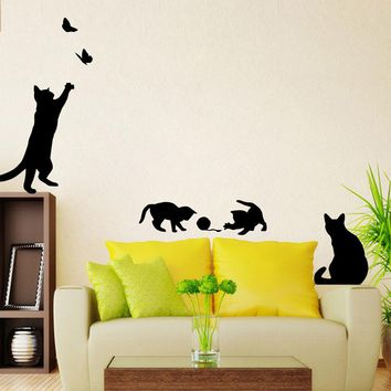 4 Cute Cats Playing Wall Stickers Baby Kids Room Decorations DIY Home Decals Vinyl Art Animals Poster Adesivos De Parede Nursery