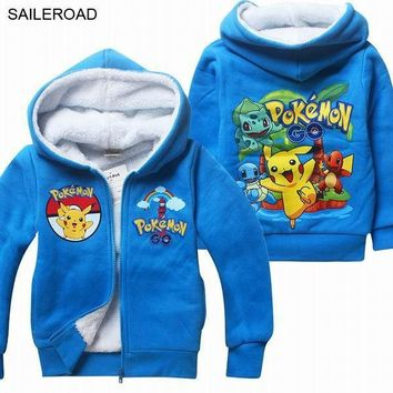Winter  GO Casual Children Kids Boys Jackets Coat Full Sleeve Teenager Girl Coat With Hooded Thick Clothing SAILEROADKawaii Pokemon go  AT_89_9