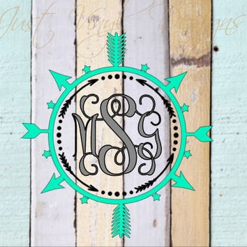 Monogram arrow, Monogram Car Decal, Arrow Decal, Custom Decal