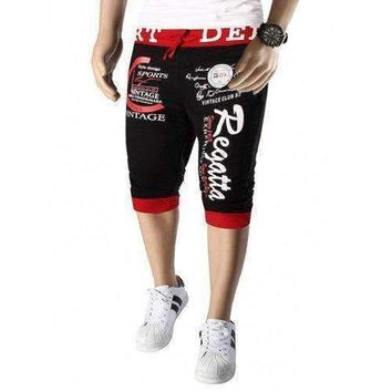 Color Splicing Letters Pattern Beam Feet Lace-Up Capri Pants For Men - Red With Black 2xl