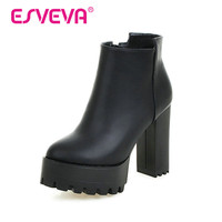 ESVEVA 2016 Black Punk Shoes Women PU Zipper White Autumn Shoes Square High Heel Ankle Boots Women Sexy Fashion Boot Size 34-43