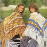 CROCHET SHAWL PATTERNS 2 Crochet Patterns Vintage 70s Crochet Poncho Patterns Crochet Sweater Pattern Bohemian Clothing Instant Download