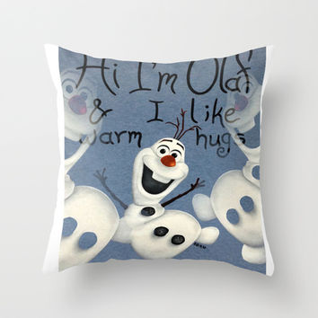 Olaf from Frozen Throw Pillow by Kunooz