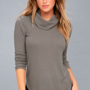 Shasta Grey Cowl Neck Sweater Top