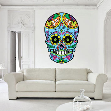 Full Color Wall Decal Mural Sticker Decor Art Beautyfull Cute Sugar Skull Bedroom Curly modern fashion (col600)