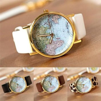 PEAPIX3 Vintage Retro World Map Watch Alloy Unisex Analog Quartz Wrist Watches Students Gift = 1932624068