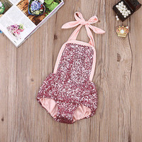 Newborn Infant Baby Girl Lace Tutu Romper Sequins Romper Jumpsuit Onesuits Outfits 0-24M