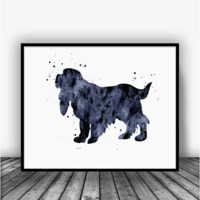 Cocker Spaniel, Black Art Print Poster