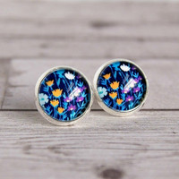 flower post earrings, blue stud earrings, photo jewelry, gifts for her