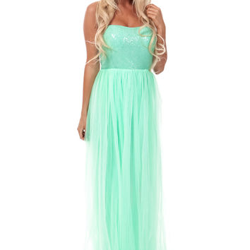 Sweet Mint Sequin Bodice Tulle Dress