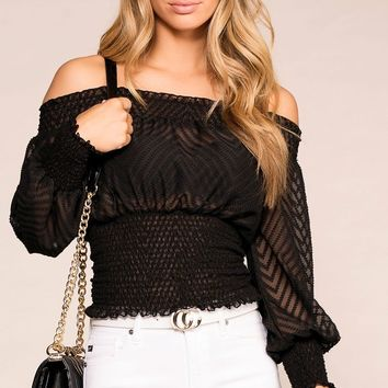 Take A Bow Black Off The Shoulder Top