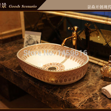 Oval Bathroom Lavabo Ceramic Counter Top Wash Basin Cloakroom Hand Painted Vessel Sink 5025