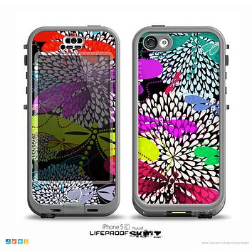 The Vibrant Neon Vector Butterflies Skin for the iPhone 5c nüüd LifeProof Case