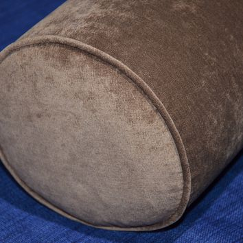 Round Bolster Pillow Cover . Antique Velvet Chocolate.