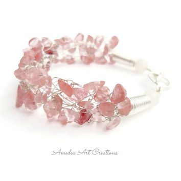 Rose quartz wire crochet and wrapped bracelet - silver plated wire jewelry - gemstone jewelry -  romantic rose quartz and snow jade bracelet