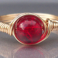 Scarlet Red Crackle Glass 14k Gold Filled Custom Sized Wire Wrapped Ring