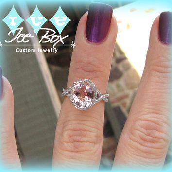 Morganite Engagement Ring 3.5ct Oval 14k  White Gold Diamond Halo Twist Shank