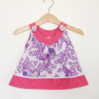 Baby girl clothing, 6-12 months, purple and pink, baby girls top, vintage baby, vintage fabric, Etsy UK, infant girl