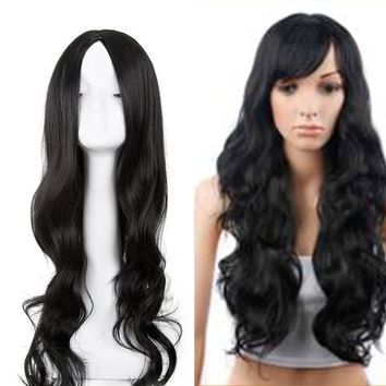 Cosplay Wig  Synthetic Long Curly Middle Part Line Blonde Women Hair Costume Carnival Halloween Party Salon Hairpiece