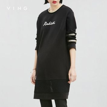 VING Winter Dresses Women Embroidery Letter Print O-Neck Medium Style Straight Casual Knee-Length Dress Ladies