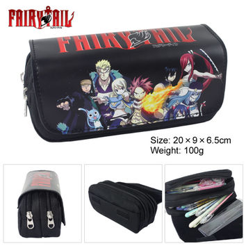 Double Zip Cartoon One Piece/Fairy Tail/Pokemon/Dragon Ball/Tororo School Pencil Bag Children Student Pen Case Stationery Box