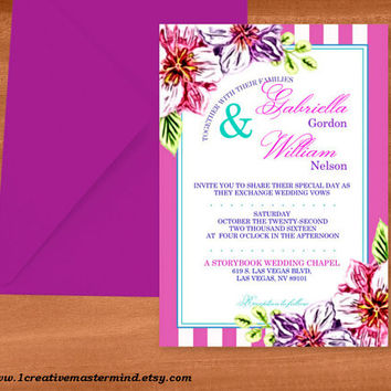 DIY Wedding Invitation Template, Instant Download, DIY, Editable PDF, Printable, Digital, Floral with Pink and White Stripes #1CM80-1